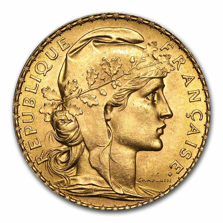 French Gold 20 Francs (Rooster) (Almost Uncirculated)
